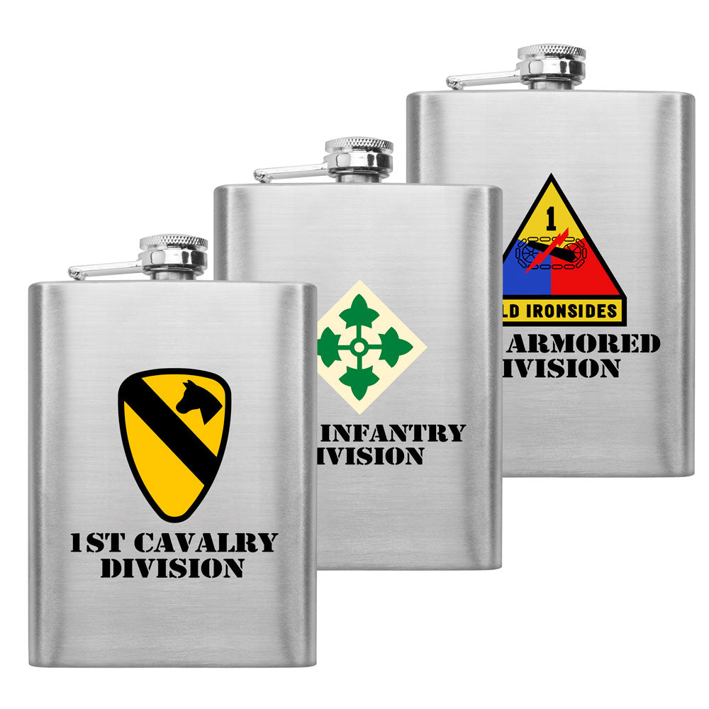 Full Color Army Unit 8 oz. Flasks