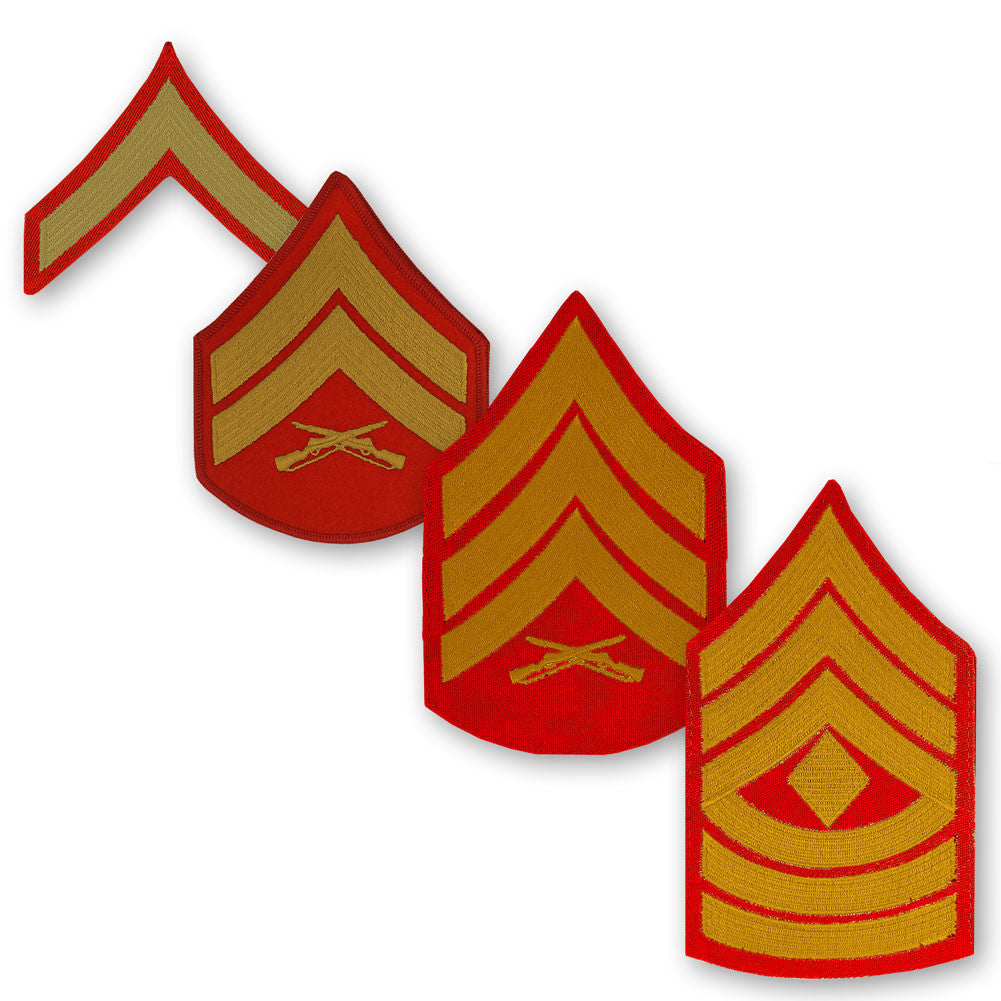 Marine Corps Embroidered Gold on Red Enlisted Rank - Male Size