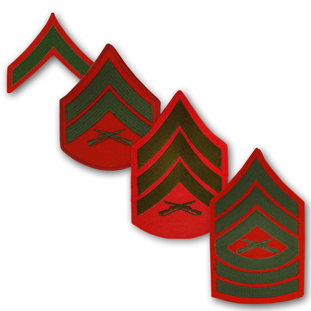 Marine Corps Embroidered Green on Red Enlisted Rank - Male Size