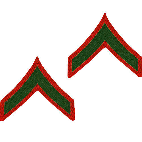U.S. Marine Corps E-2 - Private First Class Embroidered Green on Red (Male Size) Rank