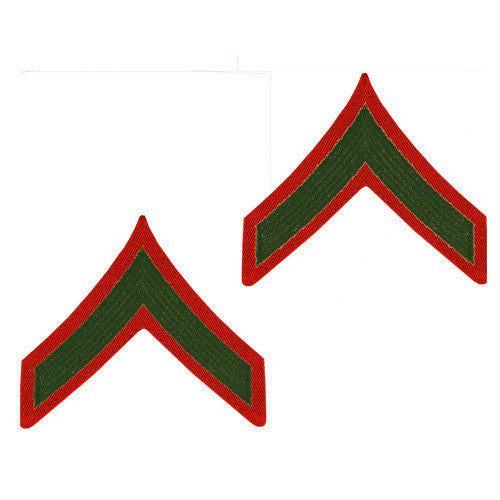U.S. Marine Corps E-2 - Private First Class Embroidered Green on Red (Female Size) Rank
