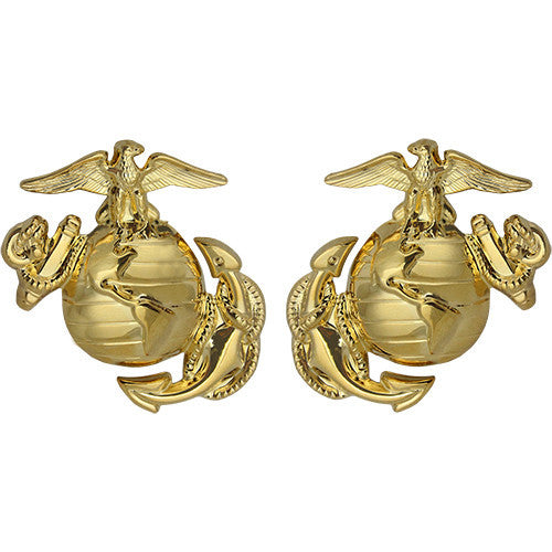 Marine Corps Enlisted Globe-and-Anchor Collar Device - Gold