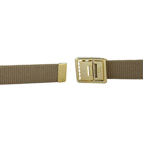 Marine Corps Khaki Belt with Anodized Open-Face Buckle and Tip