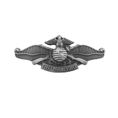 Navy Miniature Enlisted Fleet Marine Force Insignia - Silver Oxidized