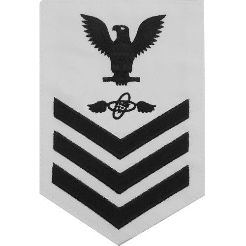 Navy E-4/5/6 Aviation Electronics Technician Rating Badge - White Poplin