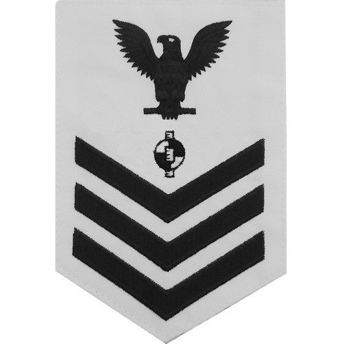 Navy E-4/5/6 Engineering Aide Rating Badge - White Poplin