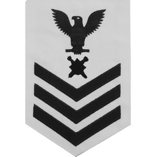 Navy E-4/5/6 Explosive Ordnance Disposal (EOD) Technician Rating Badge - White Poplin