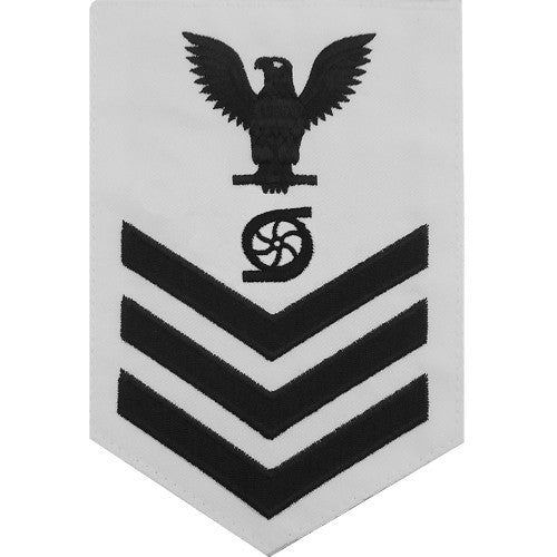 Navy E-4/5/6 Gas Turbine System Technician Rating Badge - White Poplin
