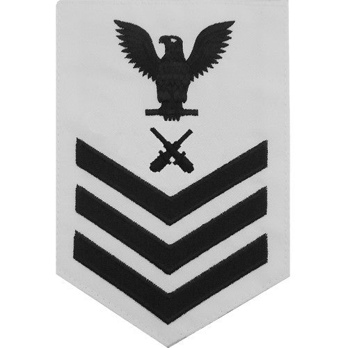 Navy E-4/5/6 Gunner's Mate Rating Badge - White Poplin