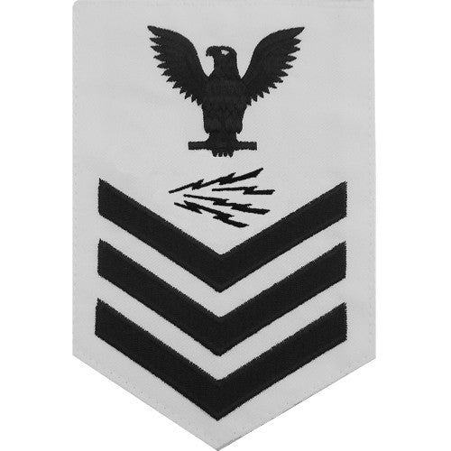 Navy E-4/5/6 Information Systems Technician Rating Badge - White Poplin