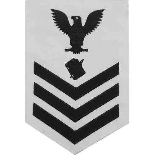 Navy E-4/5/6 Personnel Specialist Rating Badge - White Poplin