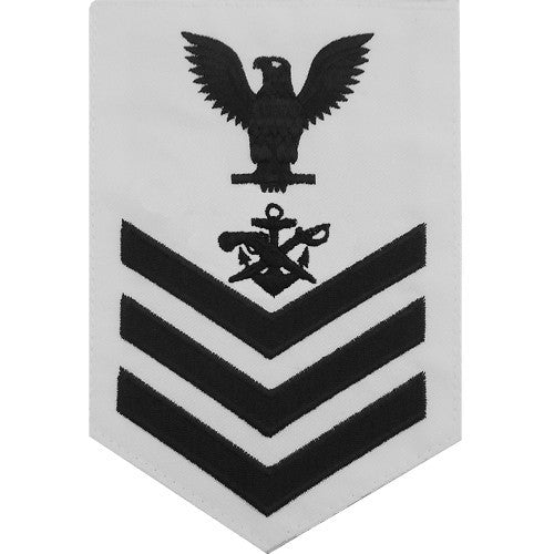 Navy E-4/5/6 Special Warfare Boat Operator Rating Badge - White Poplin