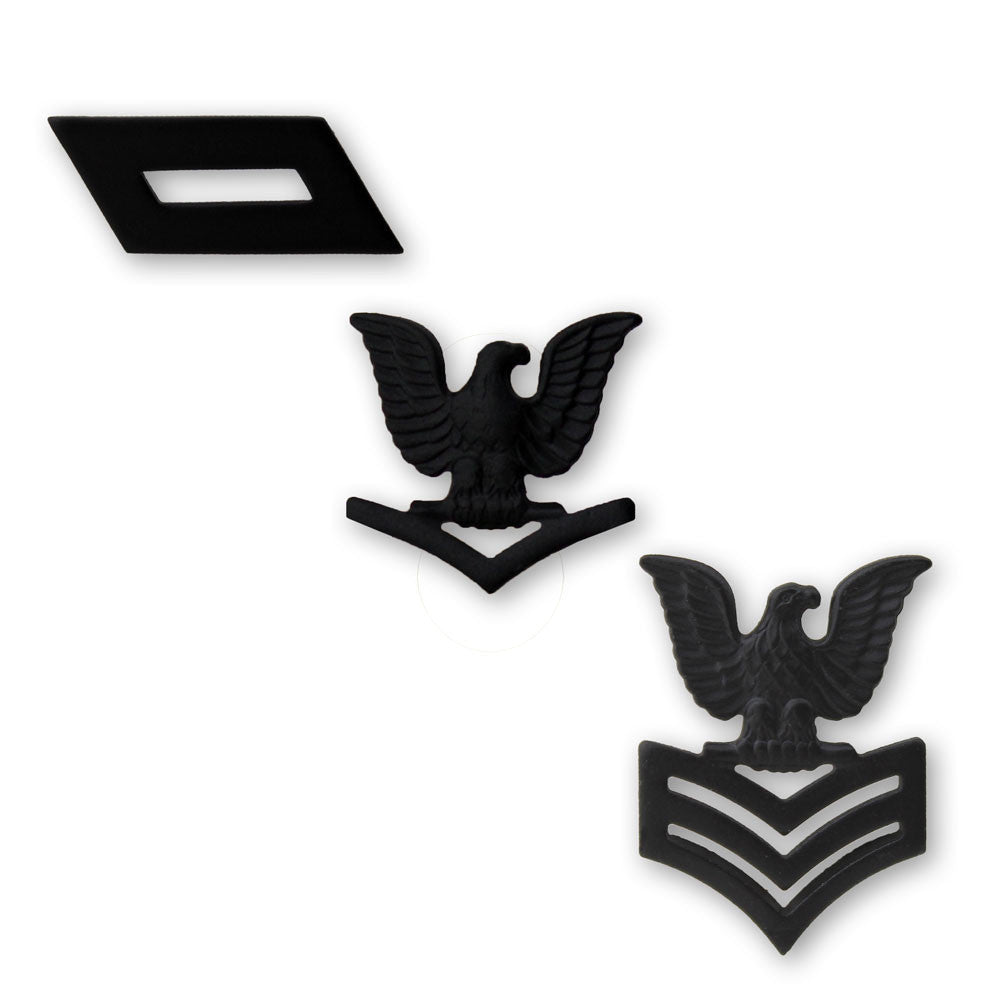 Navy and Marine Corps Subdued Black Metal Collar Insignia Rank - Single