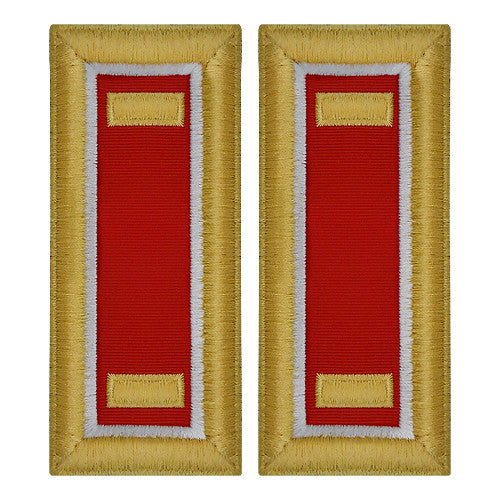 O-1 2nd Lieutenant Army Dress Blue Shoulder Board Rank (Female Size) - ENGINEER