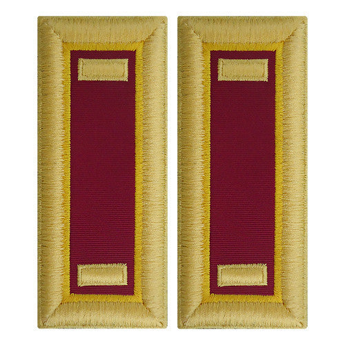 O-1 2nd Lieutenant Army Dress Blue Shoulder Board Rank (Female Size) - ORDNANCE