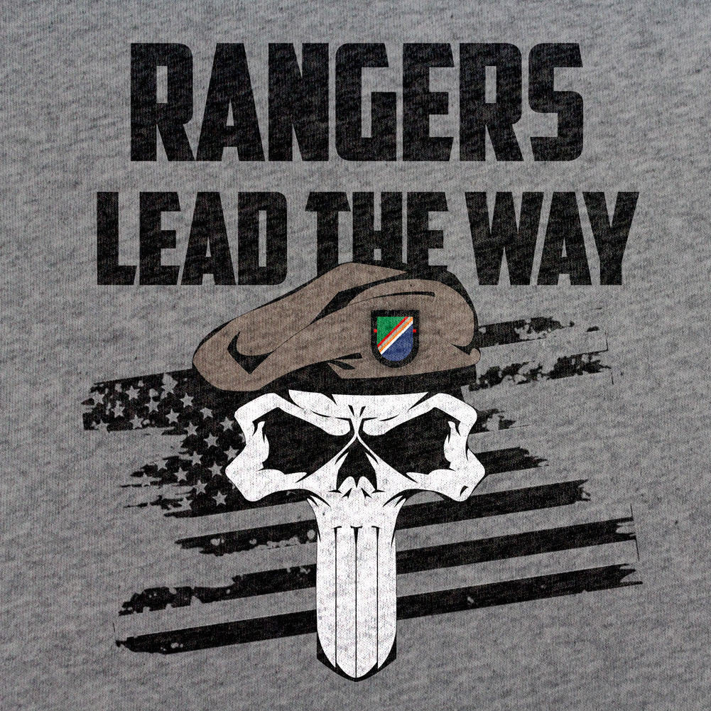 Rangers Lead the Way Skull T-Shirt - Sm - Heather Grey