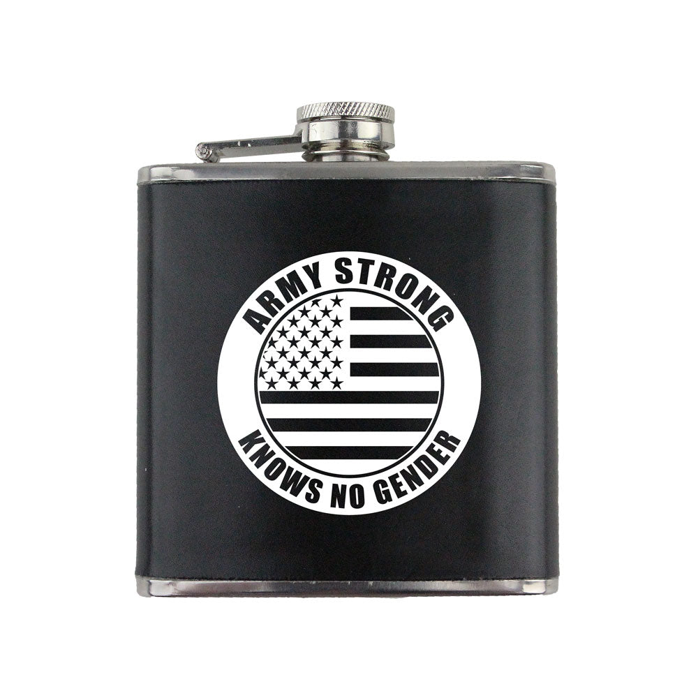 Army Strong Knows No Gender Stamp 6 oz. Flask with Wrap
