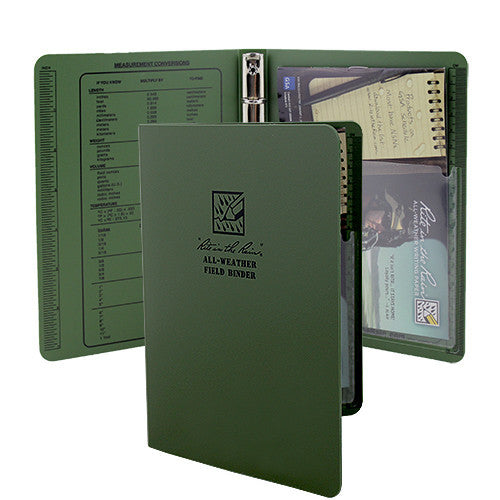 Rite in the Rain All-Weather Green Tactical Field Ring Binder - 5 5/8