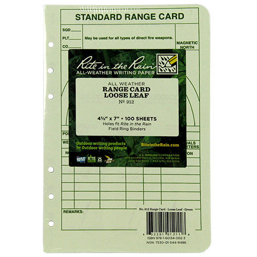 Rite in the Rain All-Weather Tactical Green Loose Leaf Range Card Binder Sheets - 100 Sheet Pack