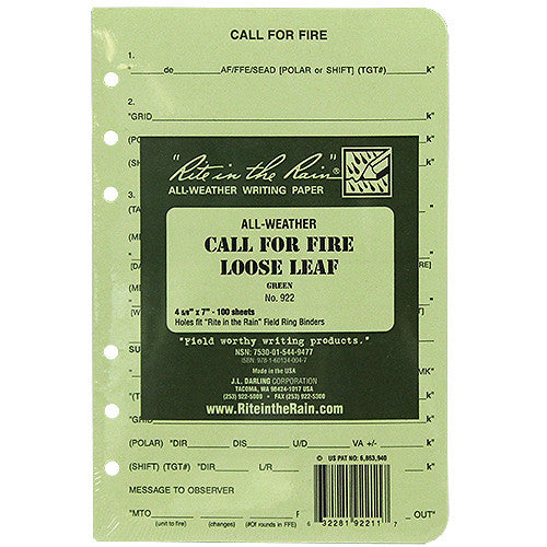 Rite in the Rain All-Weather Tactical Green Loose Leaf Call for Fire Binder Sheets