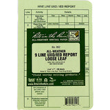 Rite in the Rain All-Weather Tactical Green Loose Leaf 9-Line UXO/IED Report Binder Sheets