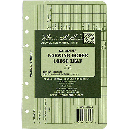 Rite in the Rain All-Weather Tactical Green Loose Leaf Warning Order Binder Sheets - 100 Sheet Pack