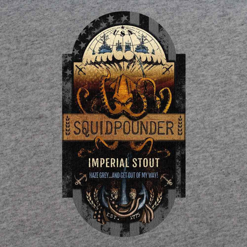 Navy Squidpounder Imperial Stout Beer Label T-Shirt-Heather Grey-Small