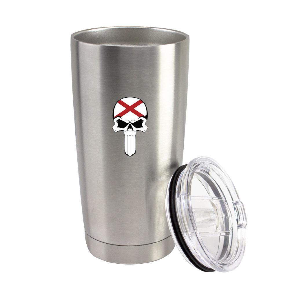 State Flag Skull Steel 20oz Thermal Tumblers