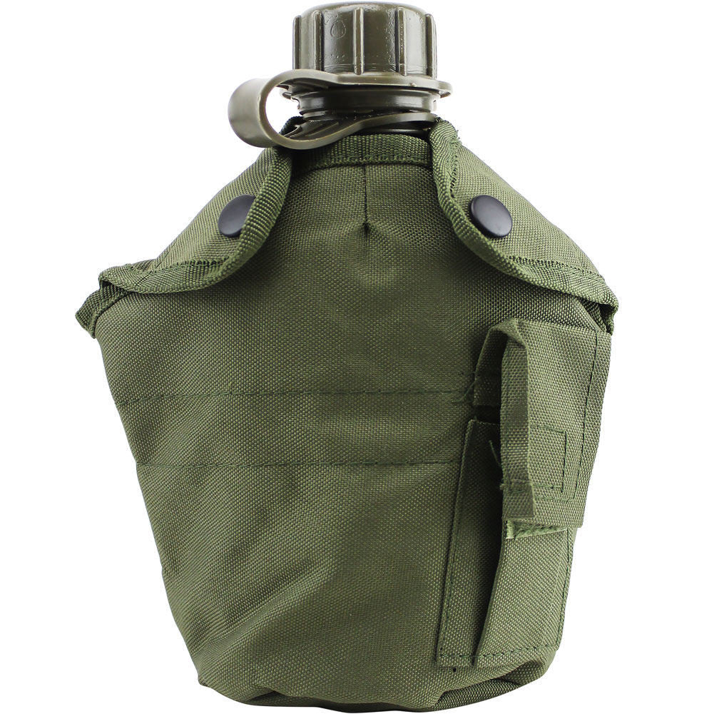 G.I.-Style OD Canteen Cover - Fromt with Canteen