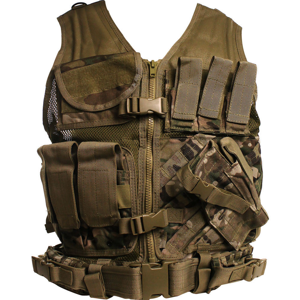 Multicam Cross Draw Tactical Vest - Front