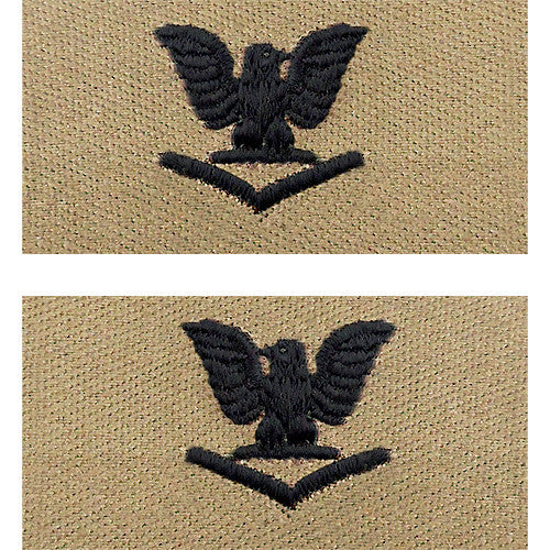 U.S. Navy E-4 - Petty Officer 3rd Class (Embroidered Desert Sand Collar Device Rank)