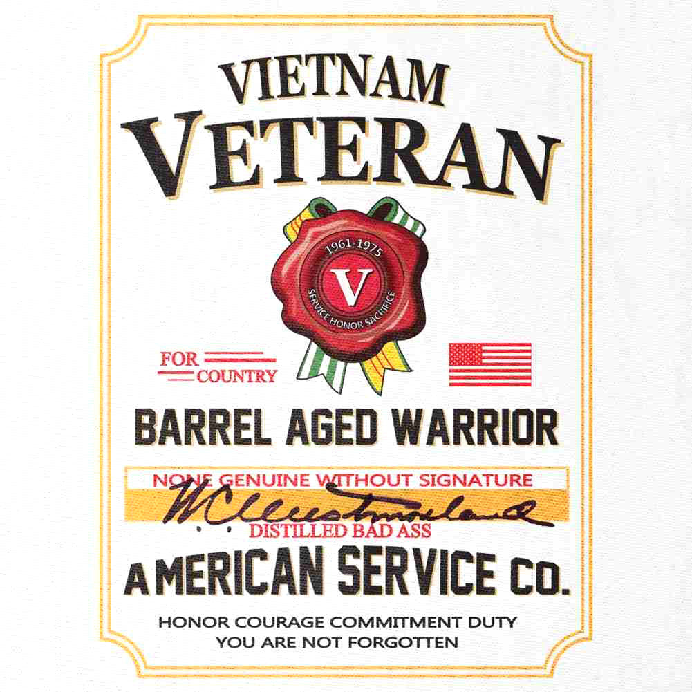 Vietnam Veteran Whiskey Label T-Shirt White - Small