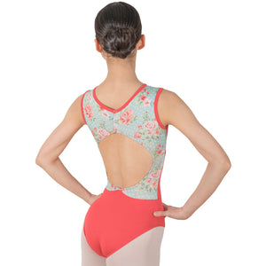 Sybil, Tank women's/girls' leotard with front lining. Floral/Red/Pink