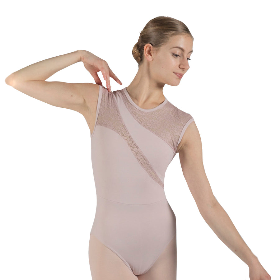 Karen, women's/girls' tank leotard with lace details.