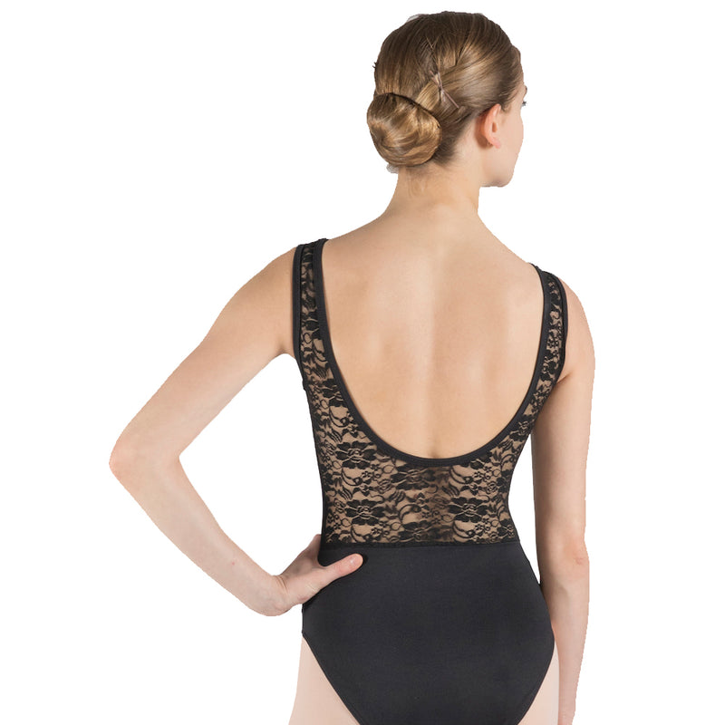 SALE! Pearl, classic women's lace leotard with open back in Black