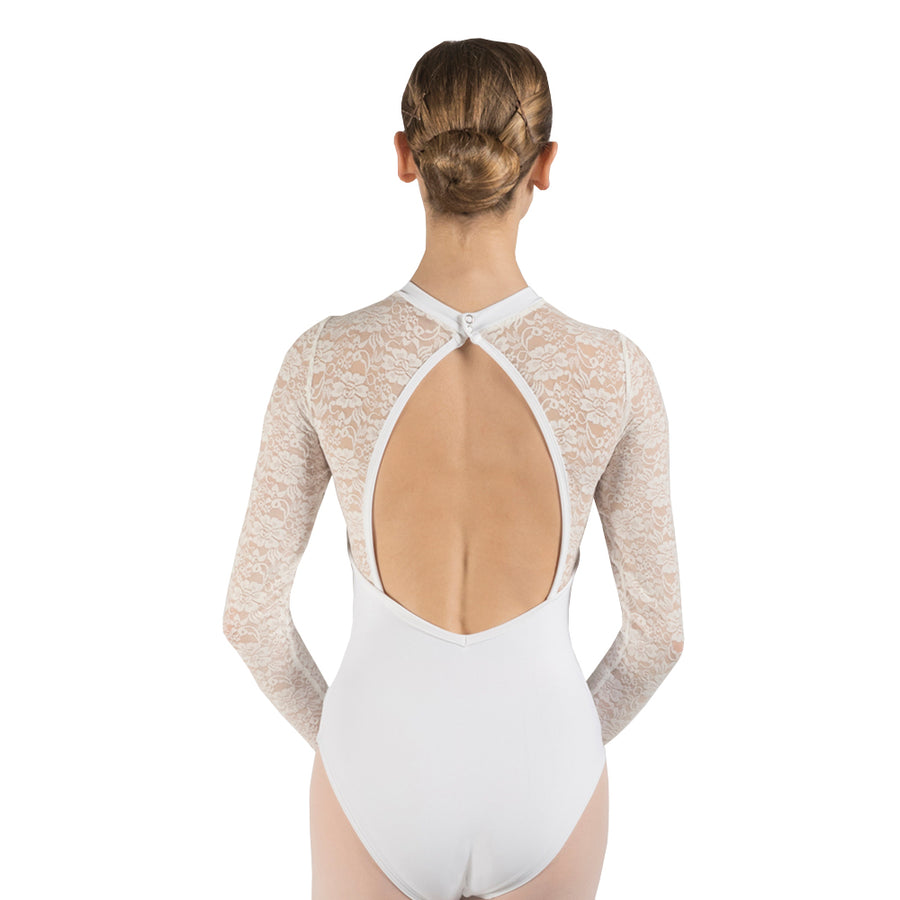 Daffodil, long sleeved, open backed lace women's leotard.