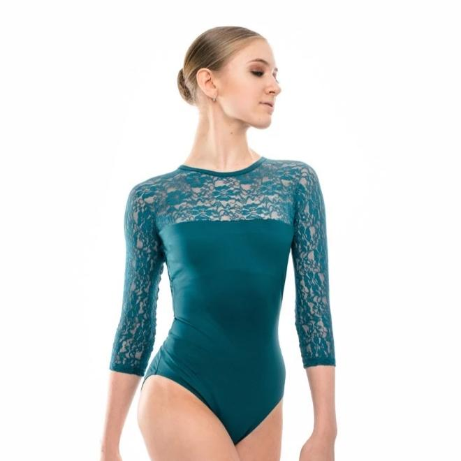 Zelda, women's long sleeve lace leotard (Teal colour on OFFER)