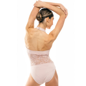 Luna, women's halter-neck, open back leotard in Dusty pink & Black