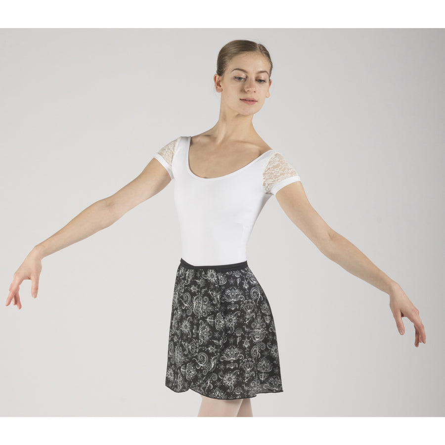 Black and White pattern Eden, wrap ballet skirt