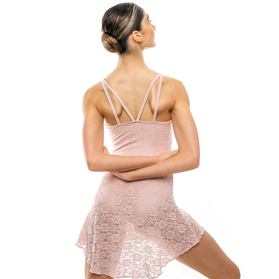 Teuta, women's lace ballet dress & strap camisole leotard. Dusty pink