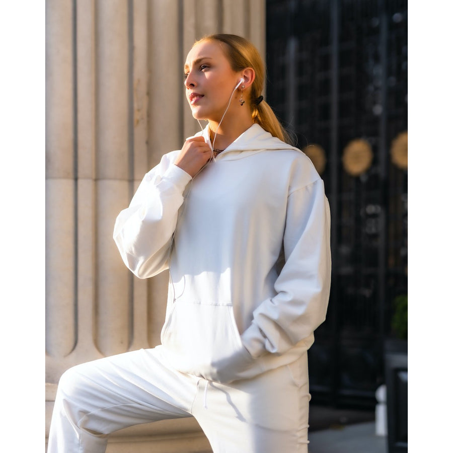 Onyro French Terry Kangaroo Hoodie White