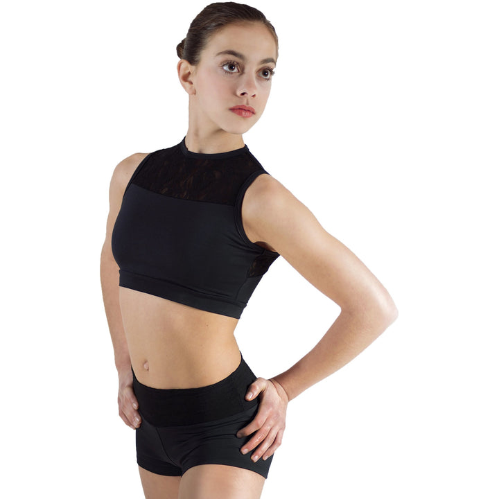 Drina, lace halter neck crop dance/ballet top with stretch lace. Black