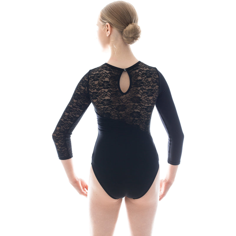 Amy, women's long sleeve lace dance leotard. Black and Burgundy