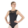 Lachelle, women's high neck tank leotard. Soft floral print & Black