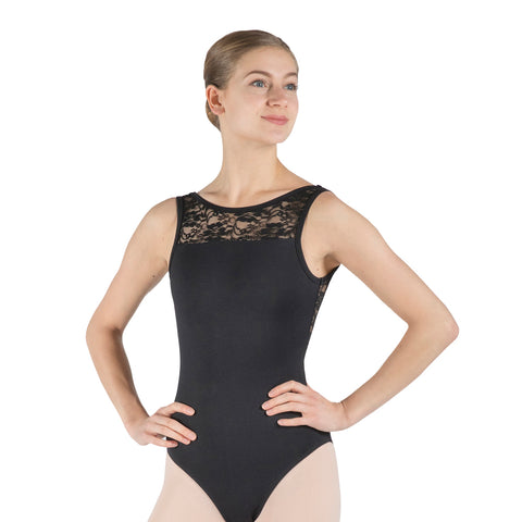 SALE! Ada, women's tank leotard: open back & mesh details. Black/White