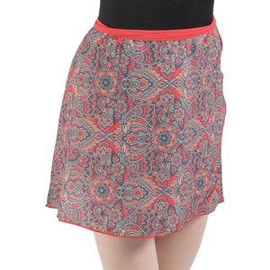 Eden, wrap printed dance/ballet skirt with tactel band. Coral, Teal, Black&white