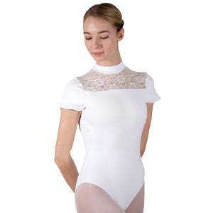 Daisy, women's open back, turtle neck leotard with lace insert. White, Black