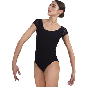 Josephine, women's/girl's leotard with lace cap sleeves.