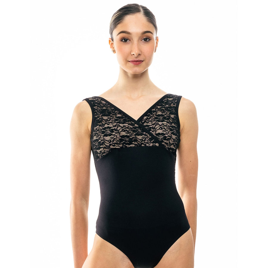 Alice, women's crossover lace leotard