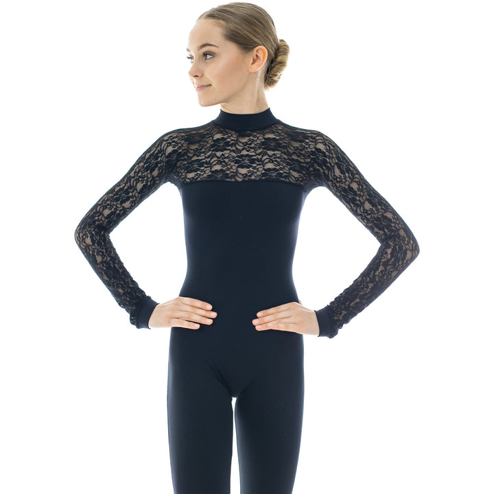 Caprice, women's turtleneck unitard with long lace sleeves. Black, Grey